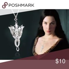 Lord of the Rings Arwen's Evening Star Necklace Arwen's Evening Star Pendant Necklace as worn in Lord of the Rings! Elegant design is silver toned with crystals. All Jewelry is brand new! Necklaces, Pendants, & More! If you like New Age style, Lockets, Crystals, Glow In the Dark, or Movie/TV Show featured stuff them you will LOVE my jewelry listings!! Be sure to check back often for new items being added everyday!! Bundle 2 or more and save 20%!! Watch for promotion deals and you get FREE…