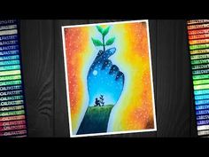 """In this video i show you """" World Environment day poster drawing easy with oil pastel - step by step World Environment Day Posters, Environment Painting, Oil Pastel Drawings Easy, Oil Pastel Art, Oil Pastels, Earth Drawings, Art Drawings For Kids, Save Water Poster Drawing, Save Earth Drawing"""