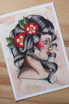 Stampa donna old school formato A4. Pin Up di HardtimesTattoo