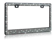 Exclusively at Sassy Auto Frames.com! Smokey black diamond rhinestones on a black license plate frame!  Gorgeous!