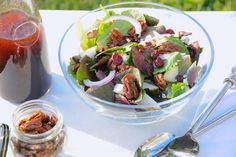 My take on the recipe for Nordstrom's Salad of Baby Greens with Chopped Pear, Blue Cheese and Dark Cherry Balsamic Vinaigrette. Part of my great American Recipes board.