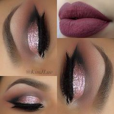 rose gold eye shadow and berry lip color