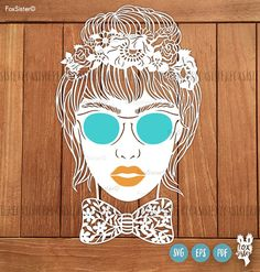 Personalise! Printable PDF and SVG paper cut template Girl with Glasses & flowers, instant download. Cut Files. For Cricut and Cameo. For personal use ONLY  Personalise this template!! Cut textured paper for lips and glasses(take a look at the second image)!