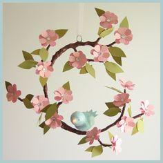 Tree Limb and Bird Mobile- Baby Mobile- Nursery Mobile- Light Pink- Blue