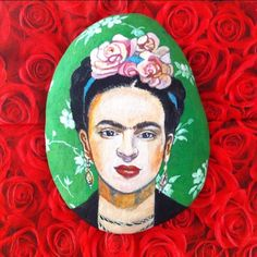 Frida Kahlo❤️#kadın #portre #taşboyama #stoneart #stonepainting #tasarım…