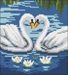 Χειροτεχνήματα: σχέδια με κύκνους για κέντημα / swan cross stitch patterns Cross Stitch Bird, Beaded Cross Stitch, Cross Stitch Animals, Cross Stitch Designs, Cross Stitching, Cross Stitch Embroidery, Cross Stitch Patterns, Pixel Art, Modele Pixel