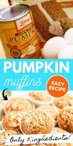 You only need three ingredients to make pumpkin muffins! Moist and Rich! In no time at all your kitchen will be smelling like fall! #pumpkinmuffins #pumpkin #pumpkinrecipes #fallrecipes #cakemixrecipes