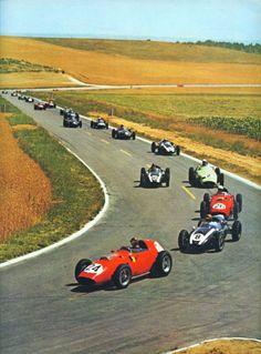 1959 - Tony Brooks, Jack Brabham, Phil Hill, Stirling Moss, ...  XLV Grand Prix de l'ACF, Reims-Gueux, Reims, France
