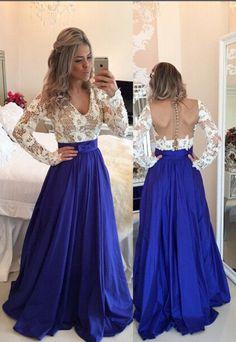 Blue Prom Dresses, A-Line V-Neck Backless Taffeta