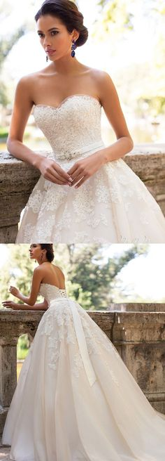 Long A line Wedding Dresses, Ivory Sleeveless With Applique Sweep Train Wedding Dresses #weddingdress