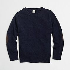 Factory boys' elbow-patch crewneck sweater