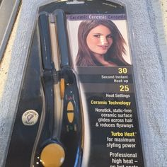 "Brand new 3/4"" ceramic straightener by Conair Heats up in 30 seconds, 25 heat settings with auto shutoff! Accessories"