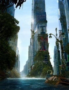 & Inspiring Futuristic Cities by Andree Wallin Concept Art, Mattepaintings And Illustrations By Andree Wallin:Concept Art, Mattepaintings And Illustrations By Andree Wallin: Art Apocalypse, Apocalypse World, Apocalypse Landscape, Apocalypse Survival, Fantasy Places, Sci Fi Fantasy, Fantasy World, Dark Fantasy, Examples Of Concepts