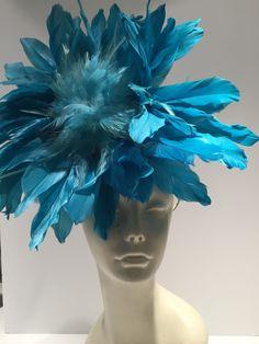 Türkis Fascinator Derby Feder Stirnband rautenförmig