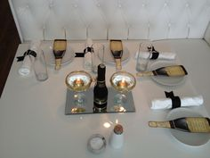 champagne glasses with gold glitter around the rim, gold floating candle and mini champagne bottle (which doubled as party favor) Mini Champagne Bottles, Champagne Party, Champagne Toast, Champagne Glasses, Dinner Themes, Floating Candles, Gold Glitter, Party Favors, Bridal Shower
