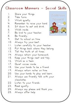 Classroom Manners Social Skills Posters - 30 pages