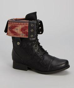 Love this Black Fold-Over Jetta Boot by Wild Diva on #zulily! #zulilyfinds
