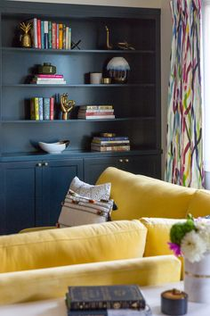 Bookshelves, Bookcase, Office Items, Colorful Wallpaper, Painting Cabinets, Built Ins, Family Room, House, Shelf