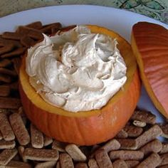 Pumpkin fluff dip   16oz Cool Whip small instant vanilla pudding package 1 can pumpkin 1 teaspoon pumpkin pie spice