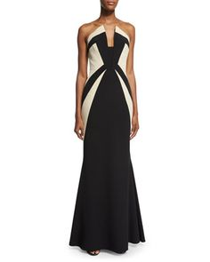 Strapless+Two-Tone+Mermaid+Gown,+Black/Ecru+by+Rubin+Singer+at+Neiman+Marcus.