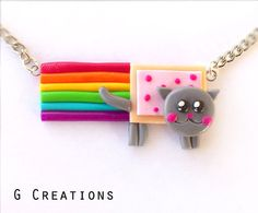 SUPER SALE Nyan Cat Necklace  Rainbow Pop by GabriellesCreations