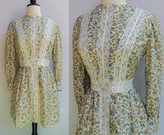 Vintage 70s Floral Lace Prairie Dress