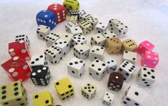 "DICE MIXED LOT SMALL TO LARGE SOME VINTAGE RED BLACK WOOD BROWN 1/4"" TO 1"""