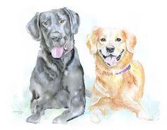 Custom Pet Portrait - of Two Animals - Watercolor Painting - Original Art