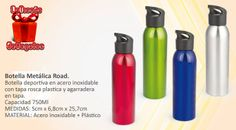 Botella deportiva en acero inoxidable con tapa rosca plastica y agarradera en tapa. Capacidad 750Ml