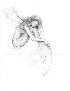 inch PRINT Mermaid's Drift Flying Fish Mermaid with Fairy Wings Art Graphit. - inch PRINT Mermaid's Drift Flying Fish Mermaid with Fairy Wings Art Graphite Pencil Drawing - Fairy Drawings, Mermaid Drawings, Mermaid Tattoos, Art Drawings Sketches, Pencil Drawings, Fish Pencil Drawing, Fairy Wing Tattoos, Fairy Wings Drawing, Mermaid Tattoo Designs