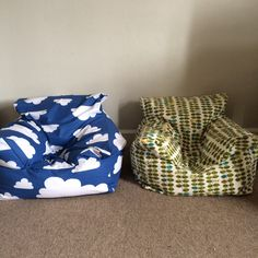 Toddler bean bag chair in blue clouds or green leaves on Etsy, £50.00