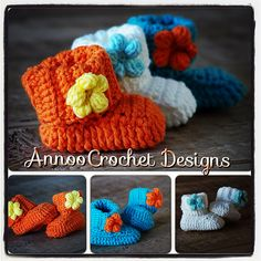 Free Spring baby Booties pattern by Annoo Crochet..Thanks Anoo :)