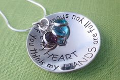Personalized Mommy Necklace - If You Think My Hands are Full - You Should See My Heart - Swarovski Crystal Birthstones on Etsy, $57.00