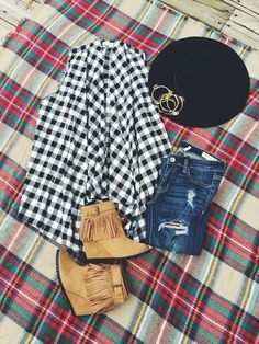 Www.thelacegypsy.com Plaid on plaid! This open vest paired with plaid distressed denim and booties with a floppy hat and wire bangles...SHOP ENTIRE OUTFIT!