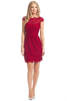 Crimson Floral Lace Olivia Dress