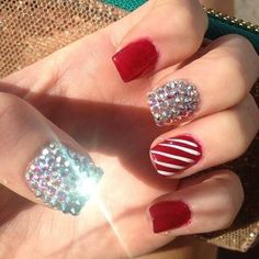 Image via We Heart It #christmas #holiday #nails #red #silver #sparkles