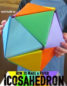 Rainbow Paper Icosahedron Ball