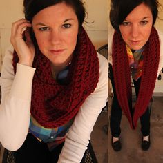 infinity scarf  Materials:  2 skeins of bulky yarn (pictured: Lion Brand Woolease Thick and Quick)  Crochet Hook: P    Chain 100 join together with sl st  Row 1: ch 2 (this counts as your first dc), dc in each sc and connect with sl st.  Rows 2-8: Repeat.  Weave in your ends and wrapped twice around your neck.