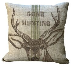 Burlap Gone Hunting on Green or Red Grainsack Pillow Cover on Etsy, $30.00, I need this to match my living room!
