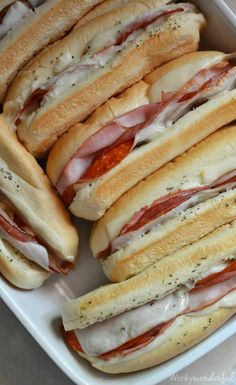 Photo: Hot Italian Sandwiches baked in the oven. Meaty Cheesy Sub Sandwiches, great for feeding a large crowd! Categories: Food And Drink Added: Description: Hot Italian Sandwiches baked in the oven. Meaty Cheesy Sub Sandwiches, great for feeding a. Think Food, I Love Food, Good Food, Yummy Food, Tasty, Lunch Recipes, Cooking Recipes, Bread Recipes, Yummy Recipes