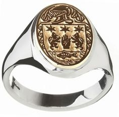 Ladies Silver & 10K Gold Oval Coat of Arms Ring