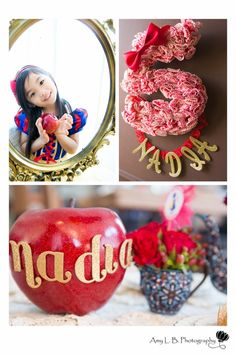 Snow White party elements {BN Black Book of Parties} Snow White Birthday Party 1st Birthday Girls, 4th Birthday Parties, Birthday Party Decorations, Birthday Ideas, Snow White Crafts, Snow White Birthday, Kids Party Themes, Party Ideas, Disney Princess Birthday