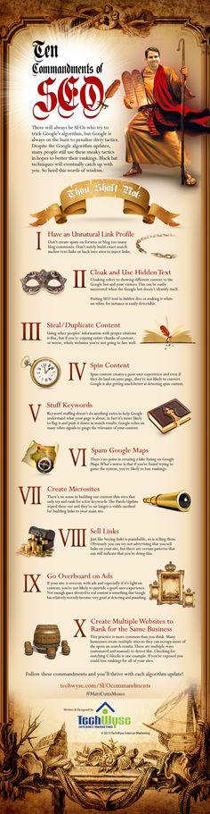 Los 10 mandamientos del SEO #infografia #infographic #seo