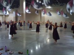 DCI Phantom Regiment color guard warming up before a 2011 performance...