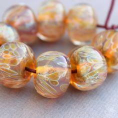 Light Yellow Pink with Butterscotch Spots Lampwork Beads - Boro Beads