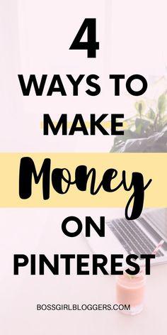 4 easy ways to make money on Pinterest! How to create a full time job and work from home using Pinterest. #workfromhome #workfromhomejobs #workfromhomeopportunities #pinteresttips #pintereststrategy #pinterestvirtualassistant #makemoneyonline #makemoney