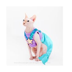 Mermaid Costume, Halloween Costumes for Pets, Mermaid cat costume, pet costume, Mermaid pet Costume, Costumes for Cats, dog mermaid costume  This handmade mermaid costume fits sphynx cats, furry cats and many small dogs. The soft fleece top can come in many colors, including one to match your pets skin or fur for that nude look. The sequined straps and hand cut starfish are stitched or appliquéd on the outside, guaranteeing that nothing scratches your darling pet. The tail comes with a tiny…