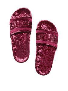 victoria secret pink slides on Mercari Pink Sandals, Cute Sandals, Sport Sandals, Slide Sandals, Cute Shoes, Me Too Shoes, Velvet Shoes, Pink Velvet, Pink Slides
