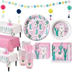 This Llama Tableware Kit for 24 Guests includes llama party tableware, decorations, cups, and cutlery. Use this kit to deck out your little one's llama-themed birthday party! 9th Birthday Parties, 1st Birthday Girls, Birthday Party Decorations, Birthday Ideas, 10th Birthday, Graduation Party Supplies, Kids Party Supplies, Birthday Supplies, Babyshower
