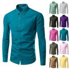 Fashion Men Shirt Long Sleeve Casual Dress Shirt Solid Color Work Wear